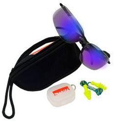 Изображение Защитные очки синие UVa+b protection EN170 + беруши, чехол Makita P-66307